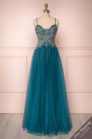 Orria Teal A-Line Tulle Gown with Embroidery | Boutique 1861