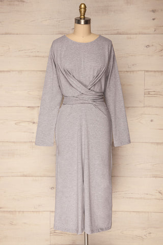 Orrigo Rock Grey Tied Waist Cozy Midi Dress | La Petite Garçonne