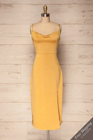 Orsi Jaune Yellow Satin Fitted Cocktail Dress | La Petite Garçonne