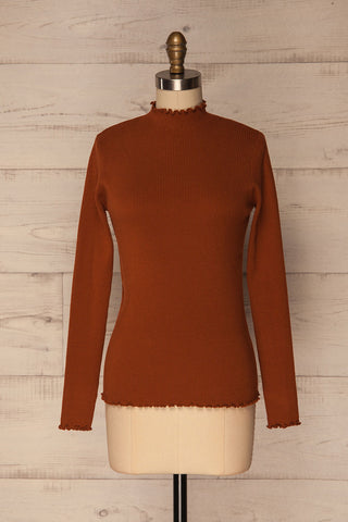 Orubica Rust Orange Ribbed Knit Sweater | La Petite Garçonne