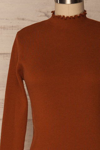 Orubica Rust Orange Ribbed Knit Sweater | La Petite Garçonne 2
