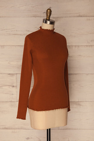 Orubica Rust Orange Ribbed Knit Sweater | La Petite Garçonne 3