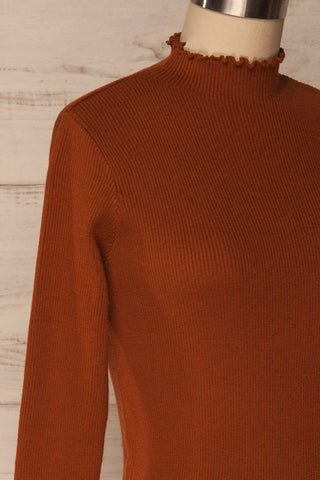 Orubica Rust Orange Ribbed Knit Sweater | La Petite Garçonne 4