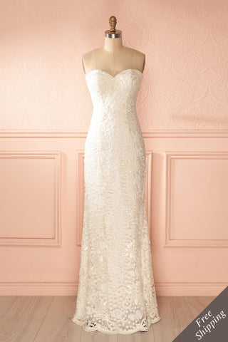 Orva Blanc - White maxi dress with overall lace
