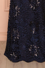 Orva Marin - Navy blue maxi dress with overall lace