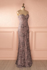 Orva Mauve - Lilac maxi dress with overall lace