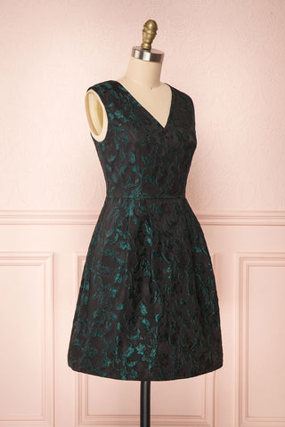 Orynko Black Cocktail Dress with Green Embroidery | Boutique 1861 side view