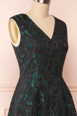 Orynko Black Cocktail Dress with Green Embroidery | Boutique 1861 side close-up