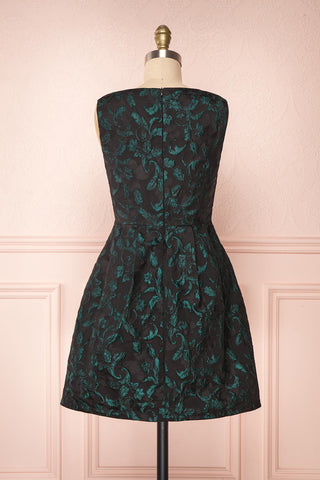 Orynko Black Cocktail Dress with Green Embroidery | Boutique 1861 back view