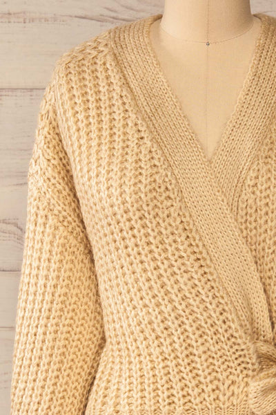 Osijek Beige Long Sleeve Knit Cardigan | La petite garçonne front close-up