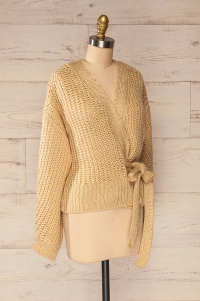 Osijek Beige Long Sleeve Knit Cardigan | La petite garçonne side view