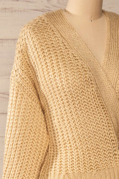 Osijek Beige Long Sleeve Knit Cardigan | La petite garçonne side close-up