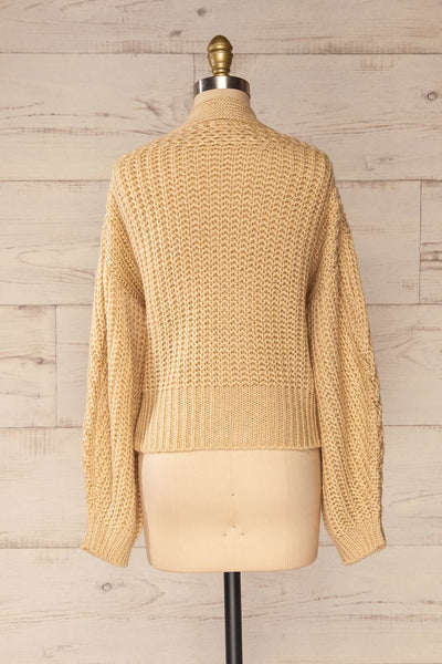 Osijek Beige Long Sleeve Knit Cardigan | La petite garçonne back view