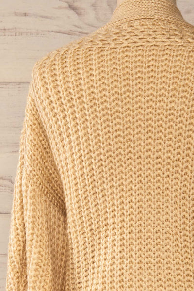 Osijek Beige Long Sleeve Knit Cardigan | La petite garçonne back close-up