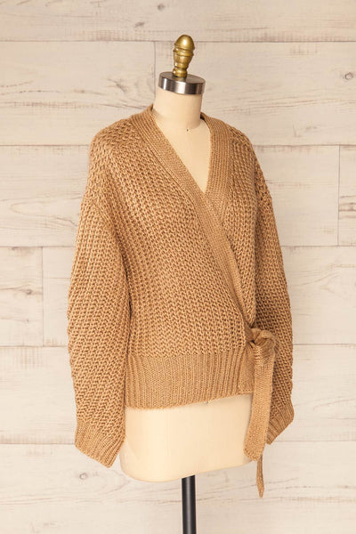 Osijek Taupe Long Sleeve Knit Cardigan | La petite garçonne side view