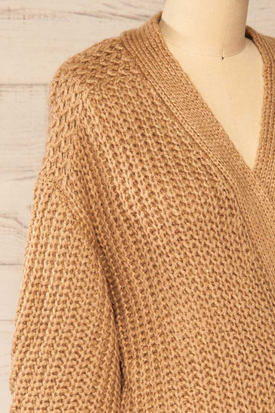 Osijek Taupe Long Sleeve Knit Cardigan | La petite garçonne side close-up