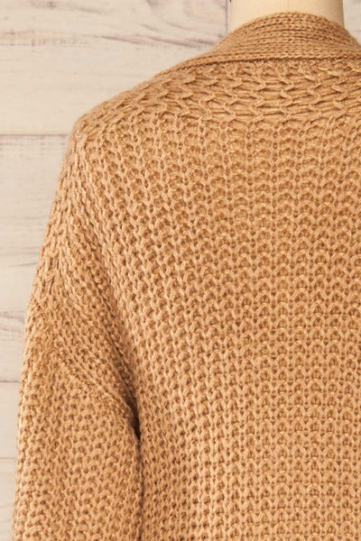 Osijek Taupe Long Sleeve Knit Cardigan | La petite garçonne back close-up