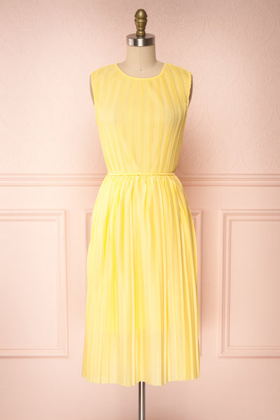 Ostra Sun Yellow Pleated Midi Dress | Boutique 1861 front view