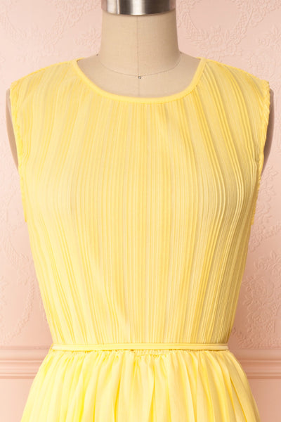 Ostra Sun Yellow Pleated Midi Dress | Boutique 1861 front close up