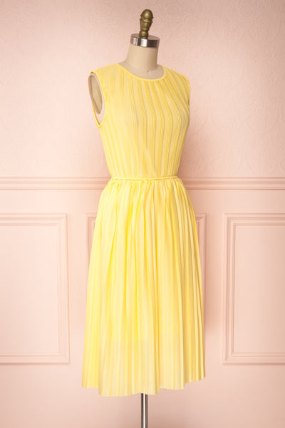 Ostra Sun Yellow Pleated Midi Dress | Boutique 1861 side view