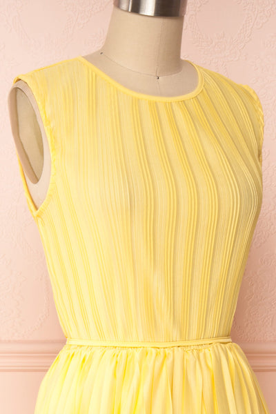 Ostra Sun Yellow Pleated Midi Dress | Boutique 1861 side close up