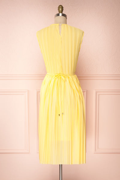 Ostra Sun Yellow Pleated Midi Dress | Boutique 1861 back view