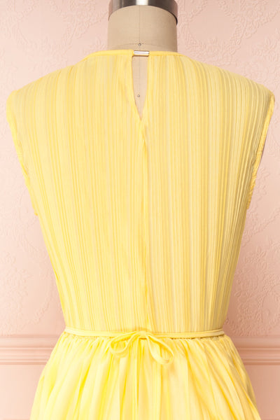 Ostra Sun Yellow Pleated Midi Dress | Boutique 1861 back close up