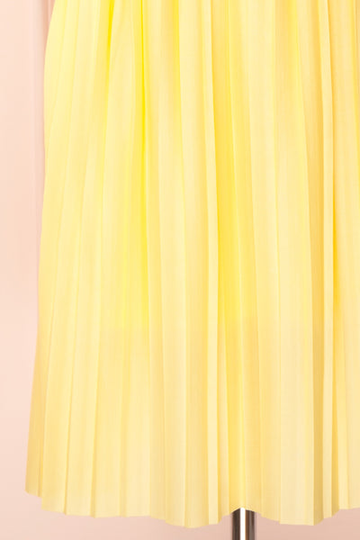 Ostra Sun Yellow Pleated Midi Dress | Boutique 1861 skirt