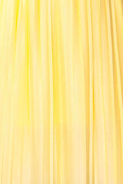 Ostra Sun Yellow Pleated Midi Dress | Boutique 1861 fabric