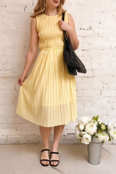 Ostra Sun Yellow Pleated Midi Dress | Boutique 1861 model look