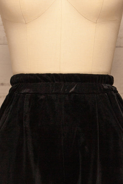 Ostroleka Black Wide Leg Velvet Pants | La petite garçonne front close-up