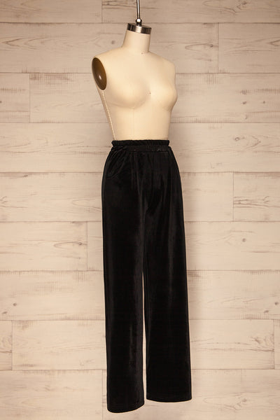 Ostroleka Black Wide Leg Velvet Pants | La petite garçonne side view