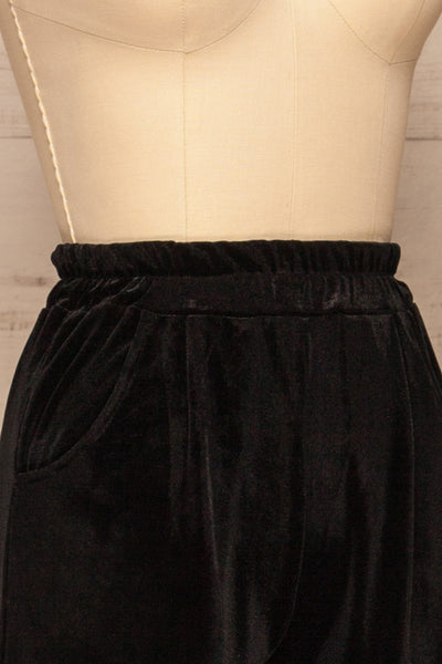 Ostroleka Black Wide Leg Velvet Pants | La petite garçonne side close-up