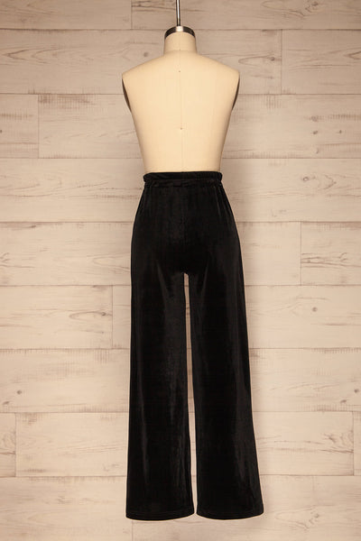 Ostroleka Black Wide Leg Velvet Pants | La petite garçonne back view