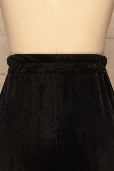 Ostroleka Black Wide Leg Velvet Pants | La petite garçonne back close-up
