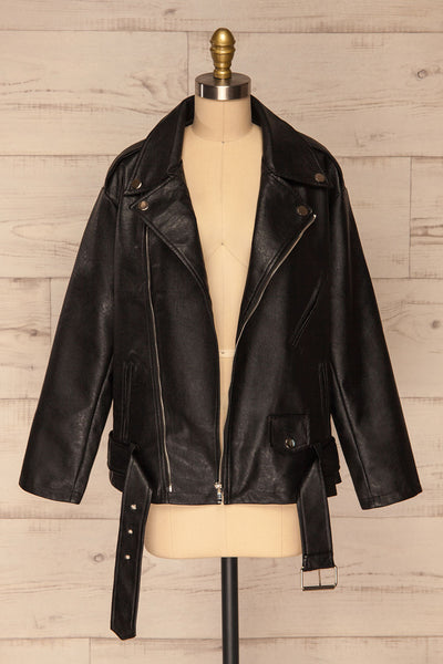 Ostrowiec Black Oversized Motorcycle Jacket | La petite garçonne front view open
