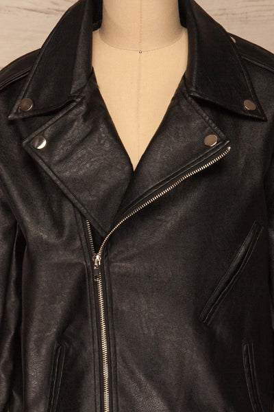 Ostrowiec Black Oversized Motorcycle Jacket | La petite garçonne front close-up