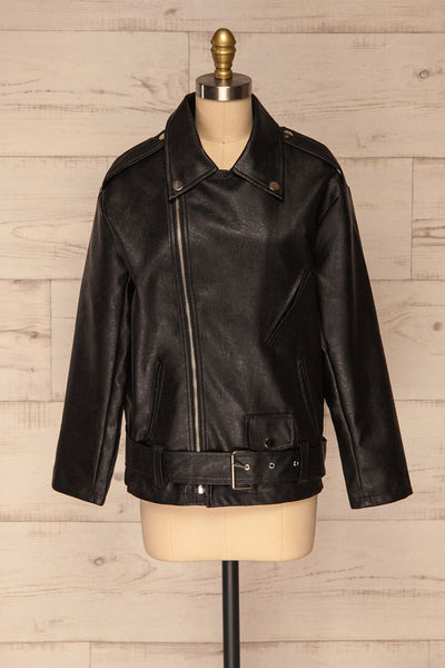 Ostrowiec Black Oversized Motorcycle Jacket | La petite garçonne front view close