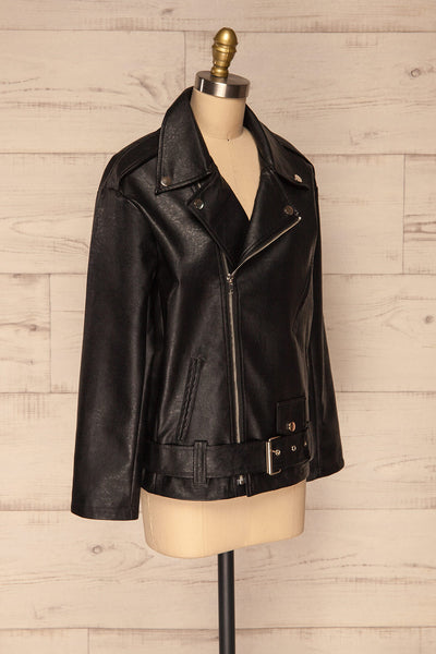 Ostrowiec Black Oversized Motorcycle Jacket | La petite garçonne side view