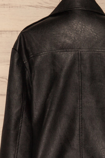 Ostrowiec Black Oversized Motorcycle Jacket | La petite garçonne back close-up