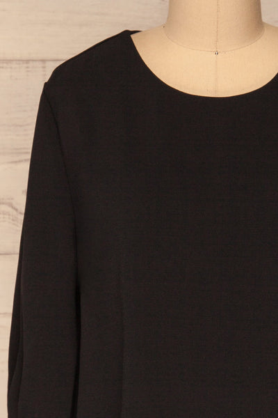 Otake Black Top w/ Pearls | Haut Noir | La Petite Garçonne front close-up