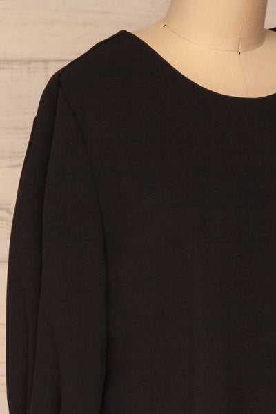 Otake Black Top w/ Pearls | Haut Noir | La Petite Garçonne side close-up