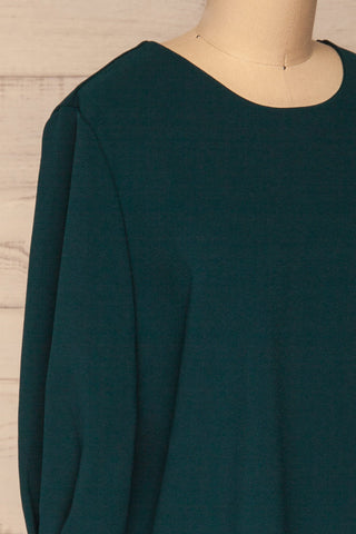 Otake Green Top w/ Pearls | Haut Vert | La Petite Garçonne side close-up