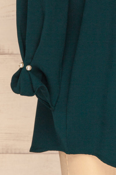 Otake Green Top w/ Pearls | Haut Vert | La Petite Garçonne bottom close-up