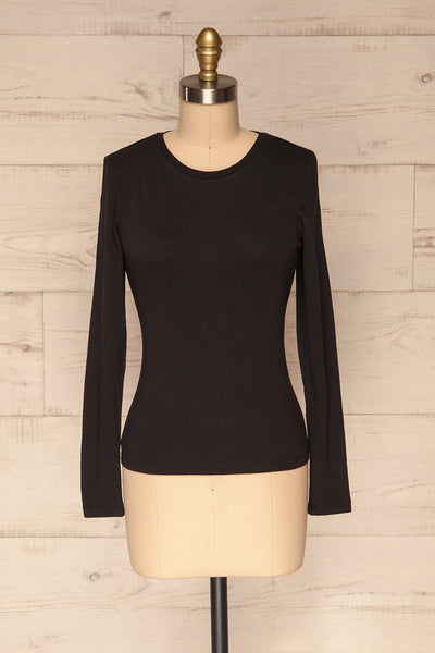 Otwock Black Long Sleeved Top | La Petite Garçonne front view