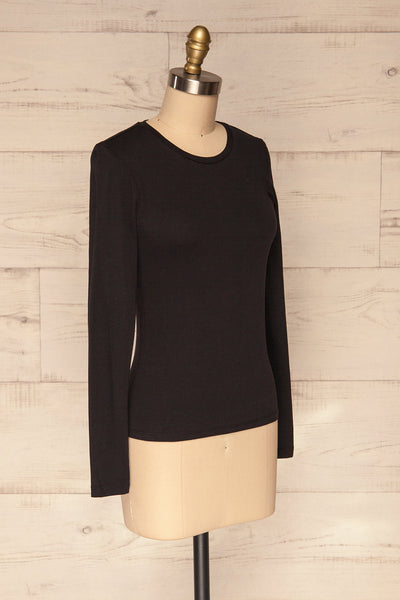 Otwock Black Long Sleeved Top | La Petite Garçonne side view