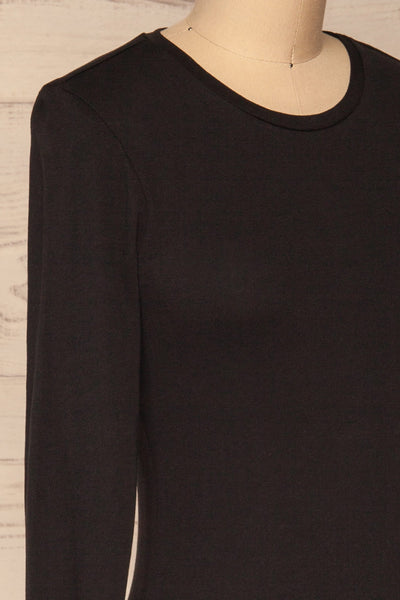 Otwock Black Long Sleeved Top | La Petite Garçonne side close-up