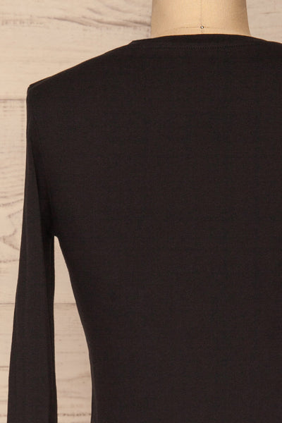 Otwock Black Long Sleeved Top | La Petite Garçonne back close-up