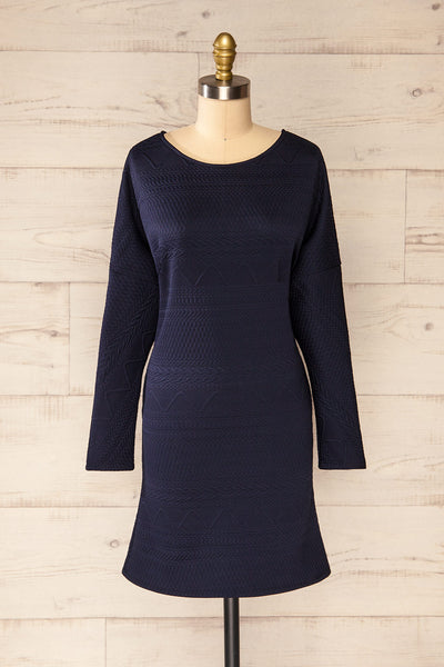 Oufa Navy Long Sleeve Textured Dress | La petite garçonne front view
