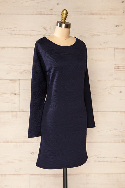 Oufa Navy Long Sleeve Textured Dress | La petite garçonne side view